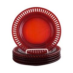 Monica Bratt for Reijmyre, Six Plates in Red Mouth-Blown Art Glass, 1950s / 60s