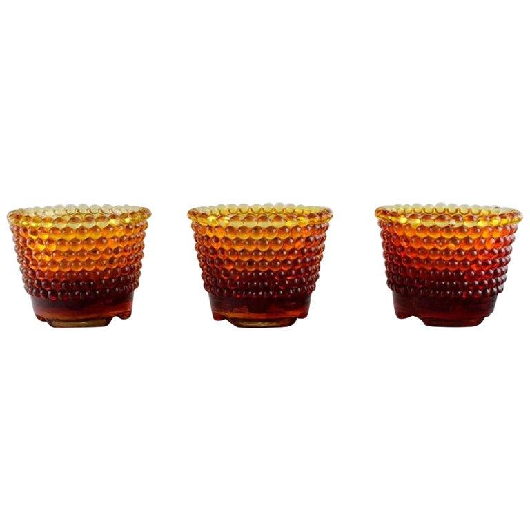 Monica Bratt for Reijmyre, Three Pärlan Candlesticks for Small Candles For Sale