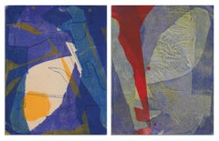 """""""Forced Dyad"""", acrylic, abstract, monotypes, blue, purple, red, yellow"""