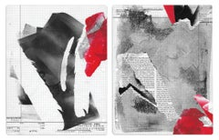 """""""Quality Computations"""", acrylic, abstract, collage, monotypes, red, black, text"""