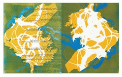 """""""That She Blows"""", abstract, monotypes, mixed media, text, yellow, green, blue"""