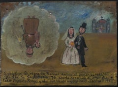 """Retablo Exvotos (Replica Bride & Groom),"" Oil on Tin by Monica Flores Martinez"