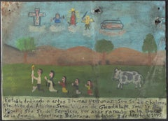 """Retablo Exvotos (Replica Family with Cow's Vision)"" by Monica Flores Martinez"