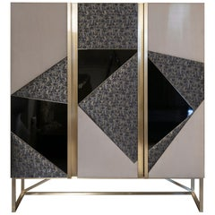 "Monica Gasperini for Flair ""LeMoulinet"" Lacquer-Fabric-Suede Cabinet, 2019"