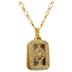 Monica Kosann Image Holder Diamond 18 Karat Yellow Gold Pendant