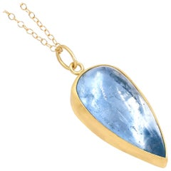 Monica Marcella Glowing Aquamarine Pear Cabochon One of a Kind Drop Necklace