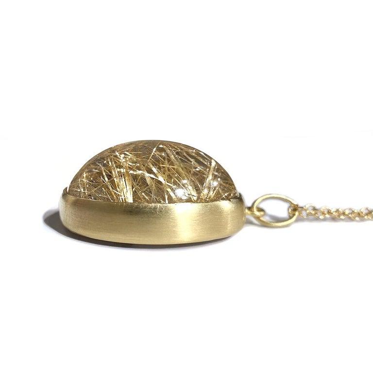 Artist Monica Marcella Golden Rutilated Quartz Egg One of a Kind Pendant Drop Necklace For Sale