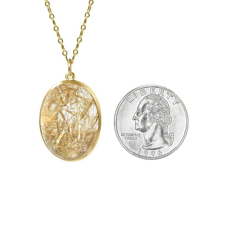 Oval Cut Monica Marcella Golden Rutilated Quartz Egg One of a Kind Pendant Drop Necklace For Sale