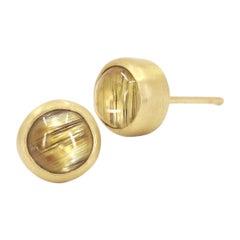 Monica Marcella Golden Rutilated Quartz One of a Kind Button Earrings