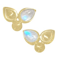 Monica Marcella Pear Blue Moonstone Handmade Matte Gold Stud Earrings