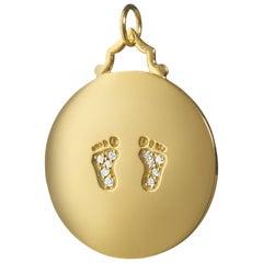 "Monica Rich Kosann 18 Karat Gold ""Baby"" Charm with Diamond Baby Feet Footprints"