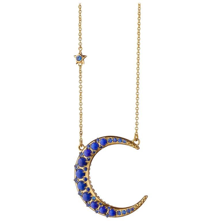 Monica Rich Kosann 18 Karat Gold Sun Moon and Stars Lapis Crescent Moon Necklace For Sale