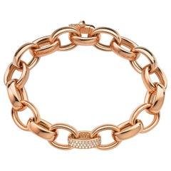 Monica Rich Kosann 18K Rose Gold Marilyn Bracelet with One Diamond Pave Link
