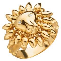 "Monica Rich Kosann 18 Karat Yellow Gold ""Courage"" Lion Ring"
