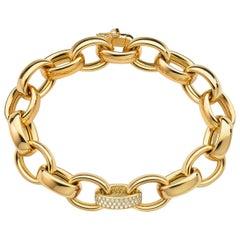 Monica Rich Kosann 18K Yellow Gold Marilyn Bracelet with One Pave Diamond Link