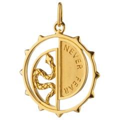 """Monica Rich Kosann 18 Karat Yellow Gold """"Never Fear"""" Snake Medallion"""