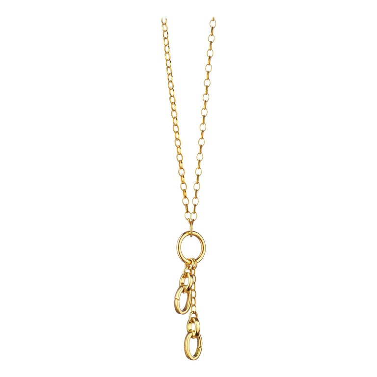 Monica Rich Kosann 18K Yellow Gold 'Add Your Charms' Short Link Charm Necklace For Sale