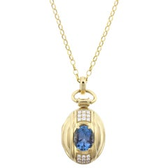 Monica Rich Kosann 18 Karat Yellow Gold Aquamarine and Diamond Locket