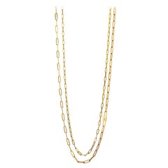 "Monica Rich Kosann 18K Yellow Gold Double Strand ""Lock"" Charm Paperclip Necklace"