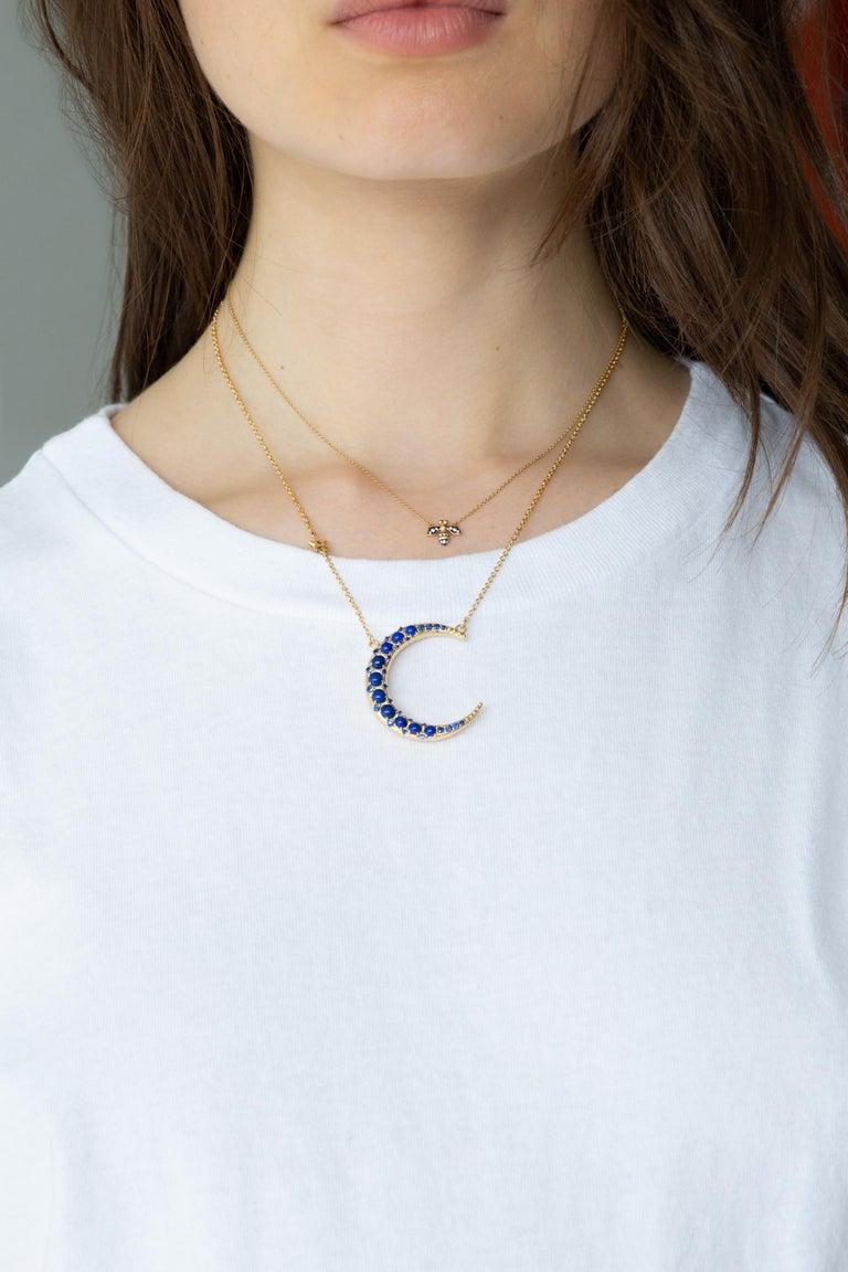Contemporary Monica Rich Kosann 18 Karat Gold Sun Moon and Stars Lapis Crescent Moon Necklace For Sale