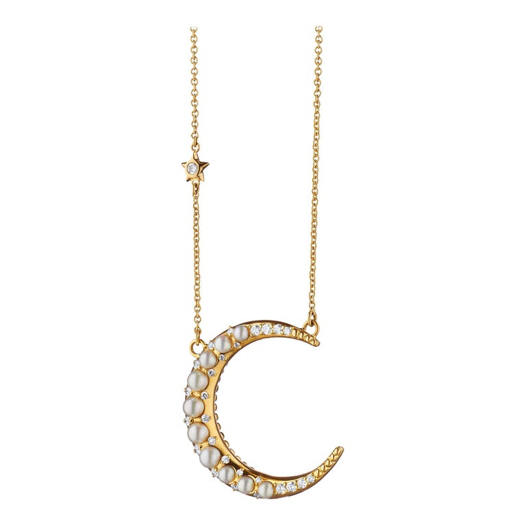 Monica Rich Kosann 18K YG Sun, Moon & Stars Pearl Crescent Moon Necklace For Sale