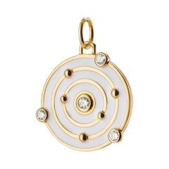 "Monica Rich Kosann 18k YG ""THE TIME IS NOW"" White Enamel Charm with Diamonds"
