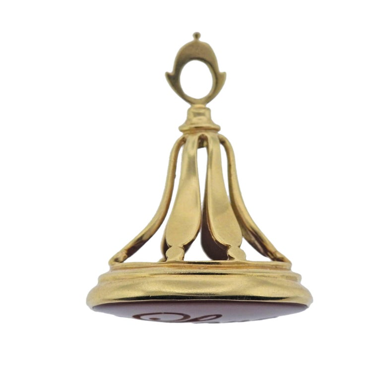 Monica Rich Kosann Love Intaglio Carnelian Gold Fob Pendant For Sale