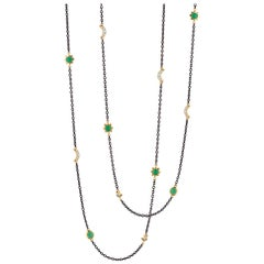Monica Rich Kosann Sun, Moon and Stars Steel, 18K, Chrysophrase, Diamond Chain