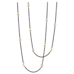 Monica Rich Kosann Sun, Moon and Stars Steel Necklace with 18 Karat YG & Pearls