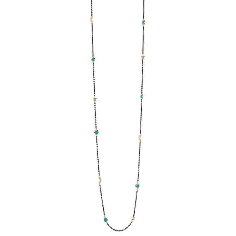 Monica Rich Kosann Sun, Moon & Stars Steel, 18KYG, Turquoise & Diamond Chain In New Condition For Sale In New Cannan, CT