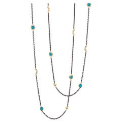Monica Rich Kosann Sun, Moon & Stars Steel, 18KYG, Turquoise & Diamond Chain