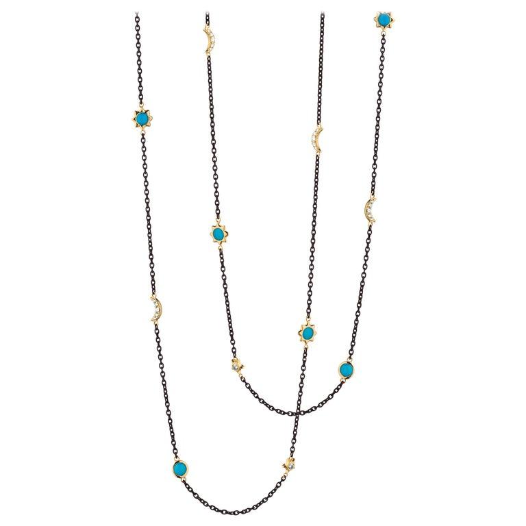Monica Rich Kosann Sun, Moon & Stars Steel, 18KYG, Turquoise & Diamond Chain For Sale