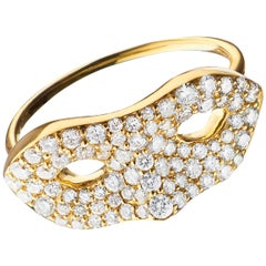 "Monica Rich Kosann ""Unmasked"" Diamond Pave 18K Yellow Gold Ring"