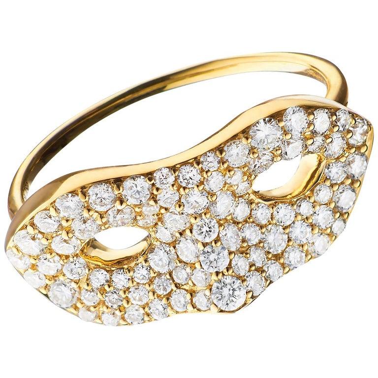 "Monica Rich Kosann ""Unmasked"" Diamond Pave 18K Yellow Gold Ring For Sale"