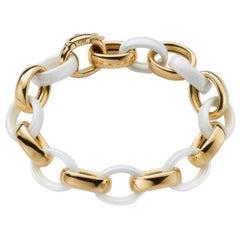 Monica Rich Kosann White Ceramic & 18K Yellow Gold Marilyn XL Link Bracelet