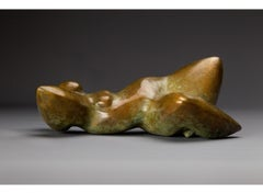 """Good Morning"" Bronze sculpture of a woman lying back with arms behind her head"