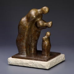 """I'm Listening"" Bronze Sculpture of two parents looking over a child"