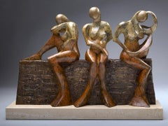 """Three Sisters"" Bronze Sculpture of three sisters sitting on a brick wall"