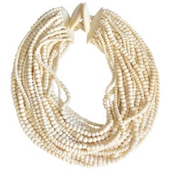 Monies 28 Strand White Bone Bead Necklace