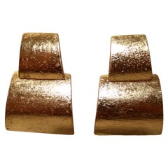 Monies Acacia Wood and Gold Foil Clip Earrings