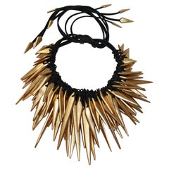 Monies Acacia Wood, Gold Foil and Leather Choker