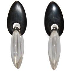 Monies Acrylic and Ebony Clip Earrings