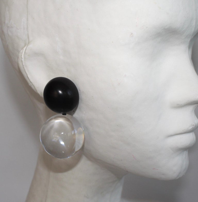 Monies Acrylic and Polyester Double Ball Earrings In New Condition For Sale In Virginia Beach, VA