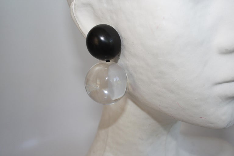 Women's or Men's Monies Acrylic and Polyester Double Ball Earrings For Sale