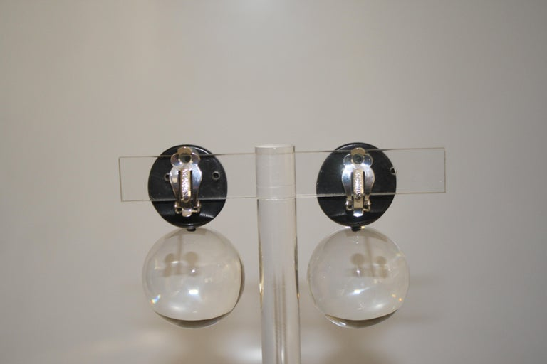 Monies Acrylic and Polyester Double Ball Earrings For Sale 1