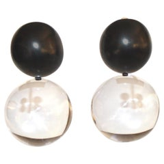 Monies Acrylic and Polyester Double Ball Earrings