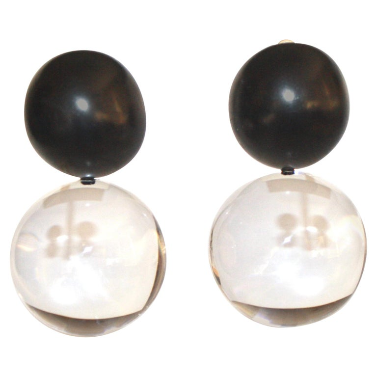 Monies Acrylic and Polyester Double Ball Earrings For Sale