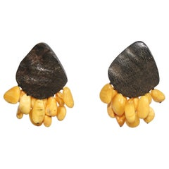 Monies Amber and Horn Clip Earrings