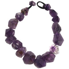 Monies Amethyst and Leather Choker Necklace