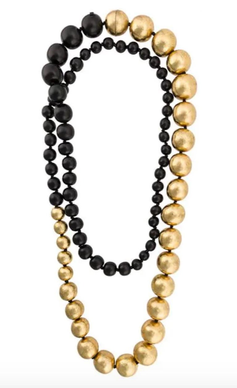 Monies Black and Gold Leaf Wood Bead Necklace  In New Condition For Sale In Virginia Beach, VA